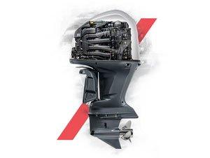 Montage photo d'un moteur Yamaha avec des formes vectorielles rouges le décorant
