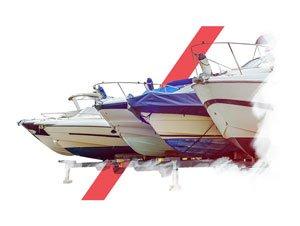 Montage photo de bateaux en stationnement avec des formes vectorielles rouges le décorant