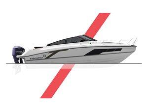 Montage photo d'un bateau de profil avec des formes vectorielles rouges le décorant